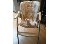 Mothercare padded high chair, foldable, in good condition