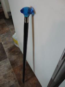 Beautiful New Blue Glass Topped Walking Stick
