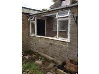 Large ex-demolition wood window frame 10ftx4ft + door frame + bricks + 3m former for Hambleton arch
