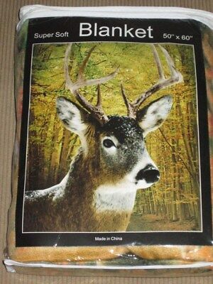 - New Deer Buck Fall Colors Autumn Leaves Soft Fleece Throw Gift Blanket Doe Fawn