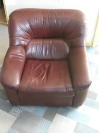 Large Brown Leather Armchair