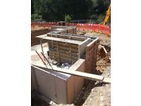 Basements, retaining walls, block and beam, reinforced concrete foundations, steel fixing,shuttering