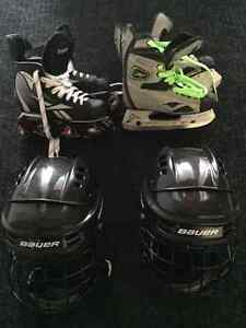 Reebok and Mission skates with Helmets