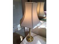 John Lewis Solid Brass Lamp Stand with Ivory Coloured Lampshade