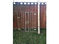 4 ft wide x 5ft high metal gate with post