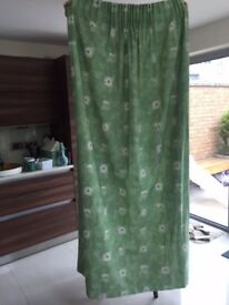 Green curtains made with John Lewis fabric. 204cm length x 132cm width. Collect Fulham