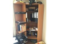 Corner bookshelf and tall bookshelf