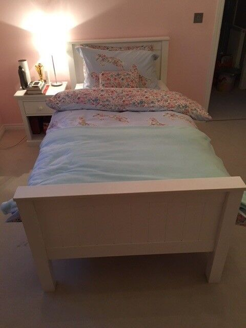 Single white Wooden Bed and Mattress (john Lewis) - 2 Years Old