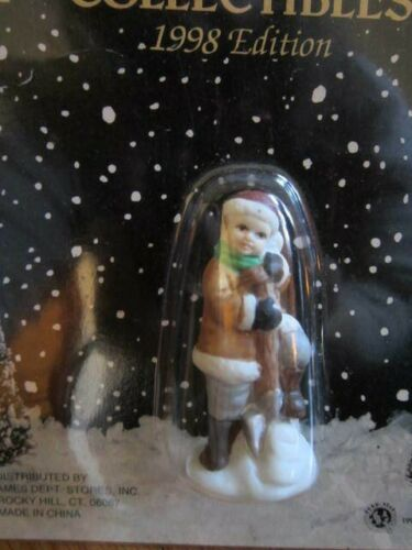 """Victorian Village Collectibles Boy Shoveling Snow 1998 Christmas Figurine 2"""" NEW"""