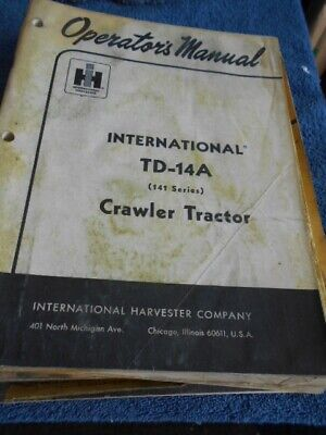 International Harvester Td-14a Crawler Tractor 141 Series Parts Catalog
