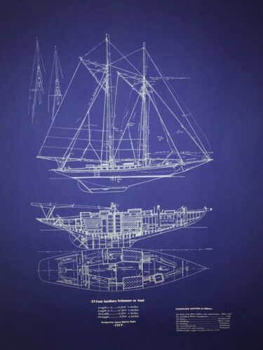 "Yacht Plan Sailboat Yawl 37 Footer 1917 Blueprint Drawing 24""x30"" (027)"