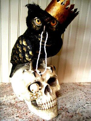 "NEW 2020 Bethany Lowe 'SIR WINGSTON OWL' TD 9048 Owl-Skull 14""x 6 1/2"" FABULOUS"
