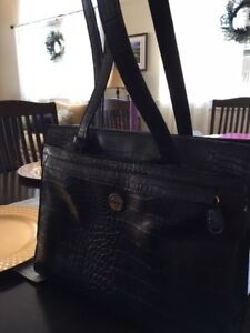 Black faux leather alligator-look purse