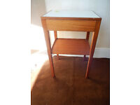 Single Remploy teak bedside table with drawer, marked February 1971