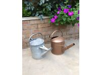 2 Vintage Metal Galvanised Watering Cans. Collect from Fulham
