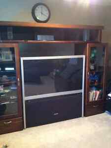 Great Condition Wooden and Glass Entertainment Hutch Strathcona County Edmonton Area image 2