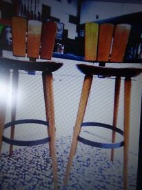 Beautiful Pair Of 1950`s Swiss Bar Stools