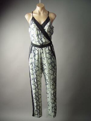 - Reptile Snake Skin Animal Print Strappy Wrap Dress Pants 296 mvp Jumpsuit S M L