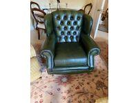 Thomas Lloyd Chesterfield Green Leather Armchair