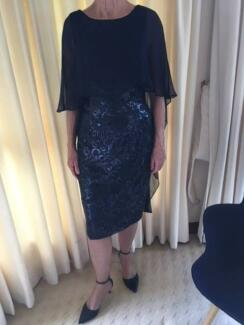 ANTHEA CRAWFORD navy sequin lace dress, size 8 & worn once
