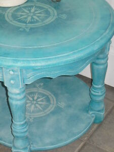 side table, for a pop of color, unique one of a kind.