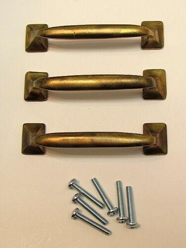 3 Vintage Solid Brass Offset Drawer Pulls Handles With Screws