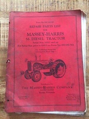 Massey Harris 55 Diesel Tractor Repair Parts List