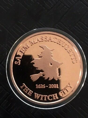 Salem MA Massachusetts Flying Witch Broom Medal Challenge ONLY 250 MADE Retired