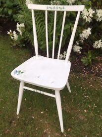White wooden chair painted - shabby chic/country style