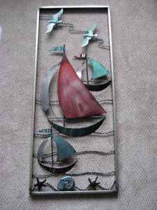 """With The Sea"" metal sailboat wall art panel"