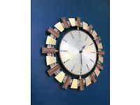 VINTAGE SUNBURST WALL CLOCK, METAMEC 1970S AZTEC, RETRO MID CENTURY ORIGINAL