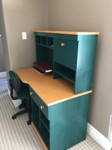 Solid Wood Desk with Office Chair