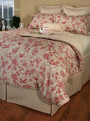 Bedding Inspirations Sonnet Birds Red Toile Queen Comforter Set Ensemble NIP