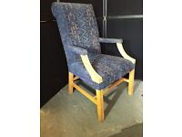Upholstered pine fireside chair