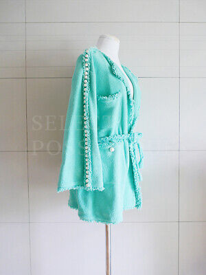 NWOT CHANEL 14P PEARL EMBELLISHMENTS MINT GREEN TERRY CARDIGAN ROBE JACKET FR36