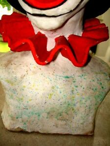 Large CLOWN HEAD BUST sculpted clay TOO COOL! very heavy CREEPY Kitchener / Waterloo Kitchener Area image 5