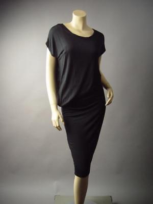 Basic Black Asymmetric Ruched Blouson Jersey Knit T-Shirt Midi 295 mv Dress M L ()