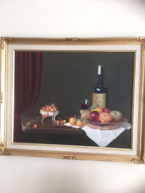 Still Life Oil painting of 'Wine and Fruit' by Nina Sexton
