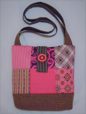 NEW HANDMADE QUILTED VINTAGE FABRIC HOT PINK CHOCOLATE PATCHWORK TOTE BAG - Hot Pink Chocolate