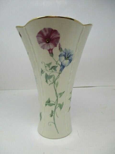"Lenox Morningside Cottage Flared Vase with Morning Glory Flowers - 8 1/4"" Tall"