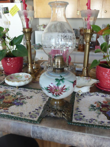 Beautiful Antique Oil Lamp With Home Sweet Home On Chimney