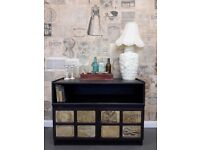 Vintage/shabby chic TV cabinet with vintage graphics - black.