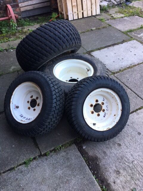 Compact Tractor Tires And Wheels : Compact tractor wheels and turf tyres good condition