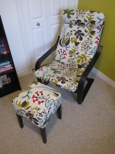 IKEA POANG CHAIR WITH OTTOMAN FOR SALE!