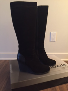 Suede wedge boots size 9.5 (Fits like a 10)
