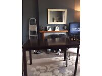 Dark Wood Dining Table (Walnut) Table & 4 Chairs