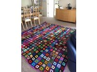 """Hand-crocheted multi-coloured bedspread /blanket/throw. Good condition,. 108"""" x 110"""" in size."""
