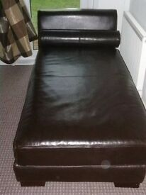 Chaise Longe, full size , chocolate brown, bought from john lewis , solid frame