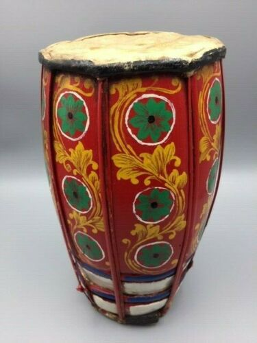DRUM TRIBAL WOOD HAND PAINTED SKIN ON ONE END WITH TUNER WOOD PIECE
