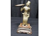 Late Victorian Antique Small Bronze Burmese Woman Statue Holding Pan Carved Base